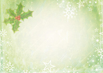Shabby chic Christmas background note paper design with holly and snowflakes.