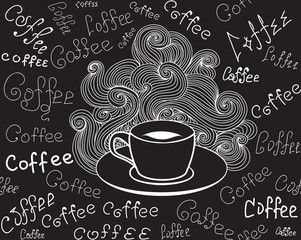 "Food and drink vector seamless pattern with coffee cup and words ""Coffee"" handwritten by chalk on grey board. Endless food vector texture"
