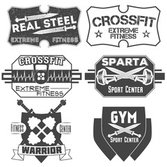 Set of monochrome fitness, crossfit emblems, labels, badges, logos and designed elements for your projects, prints, cards, invitations.