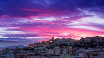 Colorful sunset in Cagliari city