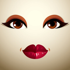 Facial expression of a young pretty woman. Coquette lady visage,