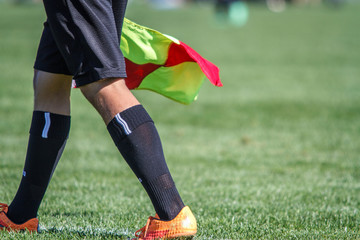 Assistant referee walking the line with the signal flag