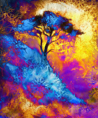 Painting tree, wallpaper landscape and ornamental mandala. Oriental background collage. Blue, black, yellow, and violet color.