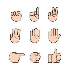 hand gestures. icons set.