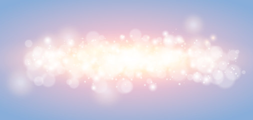 Abstract rising xmas light horizontal background. Sunrise christmas special effect with sparks, flare and bokeh. Evokes a feeling of tenderness, peace, hope.