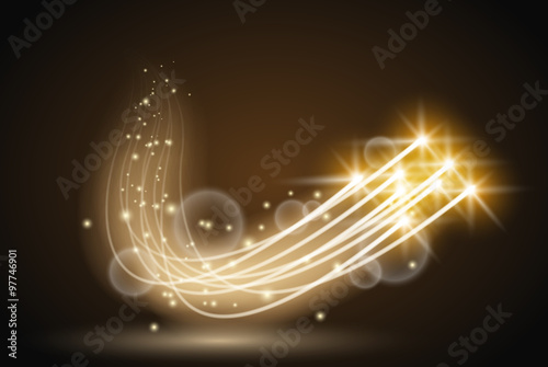 Wall mural Abstract vector magic glow flying star light effect with neon blur curved lines. Sparkling dust star trail with bokeh. Special white and golden christmas effect on dark background