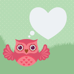 Cute flat owl icon. Valentine's Day card. Vector illustration.