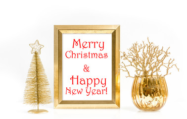 Golden frame and Christmas decoration. Greetings card concept