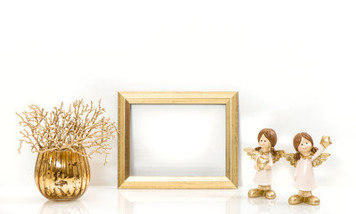 Golden frame and Christmas decorations Angel