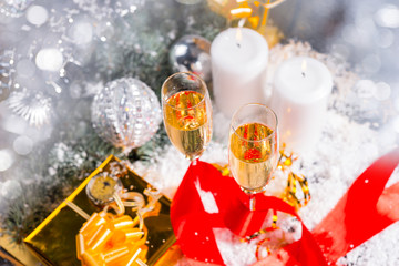 Glasses of Champagne in Festive Still Life