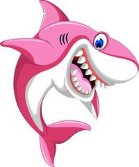 funnny angry shark pink cartoon