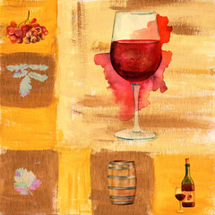 Vintage wine collage with watercolor wine glass, bottle, barrel, grapes and a square texture