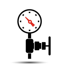 gauge. The instrument measures the pressure in the pipe icon. vector illustration