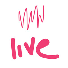 vector illustration of pink cardiogram with word life on white background