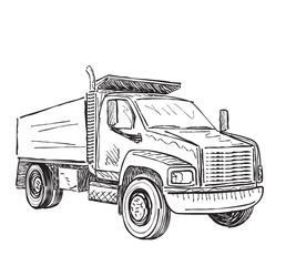 Sketch illustration of small truck