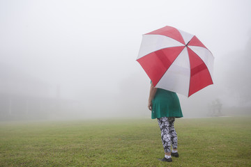 Woman Umbrella Mist Home