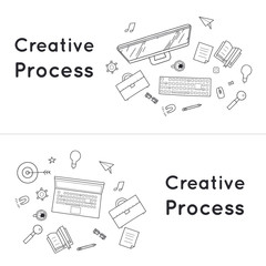 Doodle creative process, planning, presentation, marketing, business strategy.