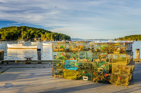 Lobster Pots on a Fishing Pier at Sunset