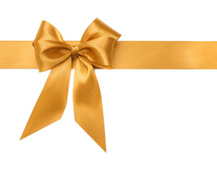 Gold bow on white background.