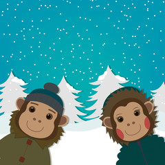 funny Monkeys on winter landscape. New Year and Christmas greeting card. Chinese Zodiac 2016. Cute Animal. Cartoon Character. Vector.