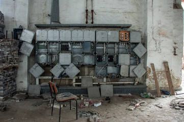 destroyed power supply in a old ruin
