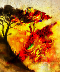 Painting sunset, and tree, wallpaper landscape, color collage. and abstract grunge background with spots. Red, orange, yellow color.