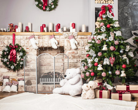 Christmas tree and fire-place