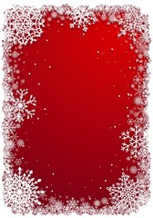 Christmas frame with snowflakes over red vecrtical background