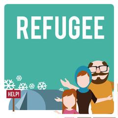 refugee illustration over  winter landscape