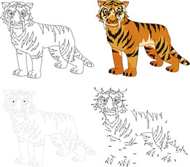 Cartoon saber-toothed tiger. Vector illustration. Dot to dot gam