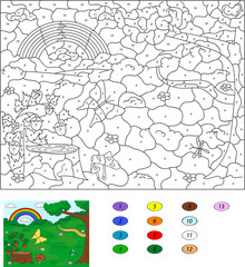 Color by number educational game for kids. Forest glade with a s