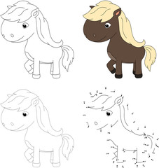 Cartoon horse. Vector illustration. Dot to dot game for kids