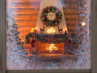 3D rendering New year interior with Christmas tree, presents and fireplace in the house from a log. The interior is shown through the frozen window. Postcard decorated christmas tree.