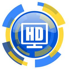 hd display blue yellow glossy web icon
