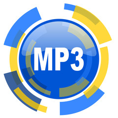 mp3 blue yellow glossy web icon