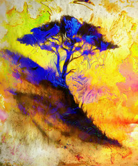 Painting sunset, sea and tree, wallpaper landscape, color collage. and abstract grunge background with spots. Blue, black, yellow, green and violet color.