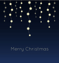 Blue background with Christmas lights