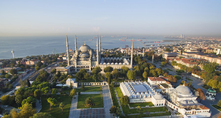 Blue Mosque and Istanbul panorama aerial view