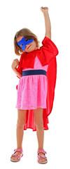 Superhero little girl poses isolated on white background