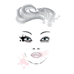 Female face makeup . Portrait of a girl . Fashion & Style. Beauty saloon.