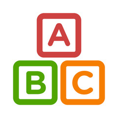 ABC blocks child education line art icon for apps and websites