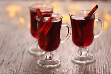 Mulled wine on wooden table