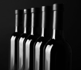 Wine bottles in a row on black background, close up
