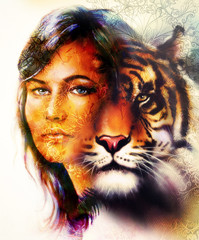 painting of a bright mighty tiger head on ornamental background and mystic woman face, computer collage. Brown, orange, yellow, black and white color.