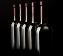 Wine bottles in a row on dark background, close up
