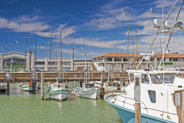 Line of Different Bright Yachts in San-Francisco Marina Pier