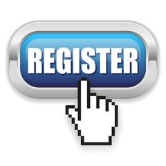 Blue register button with metal border and hand cursor