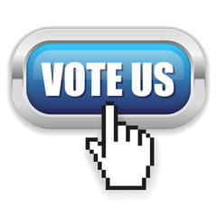 Blue vote us button with metal border and hand cursor