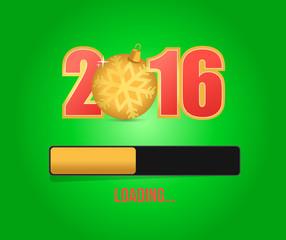 2016 gold ornament. christmas loading