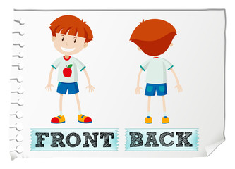 Opposite adjectives with front and back